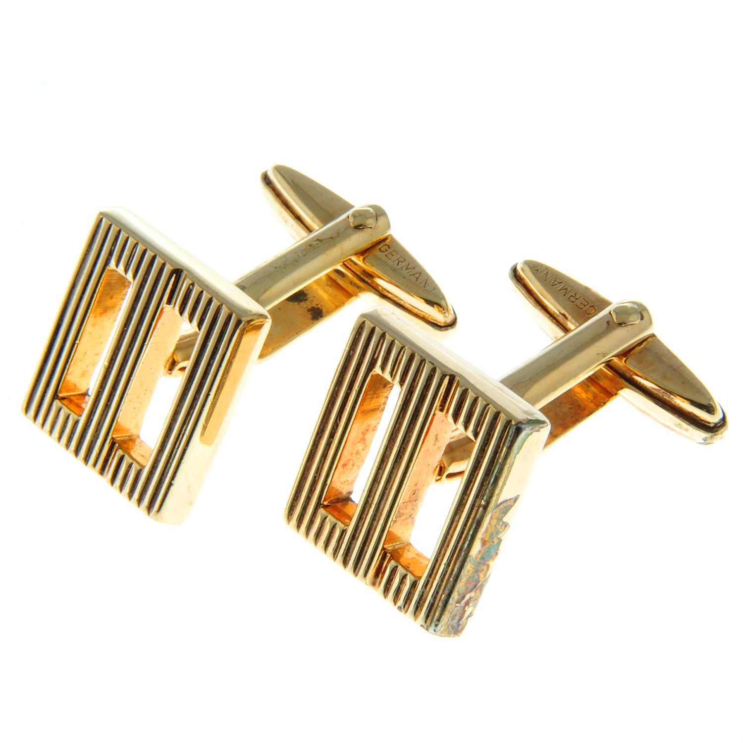 A pair of textured monogram cufflinks, by Christian Dior.Signed Chr. - Image 2 of 3