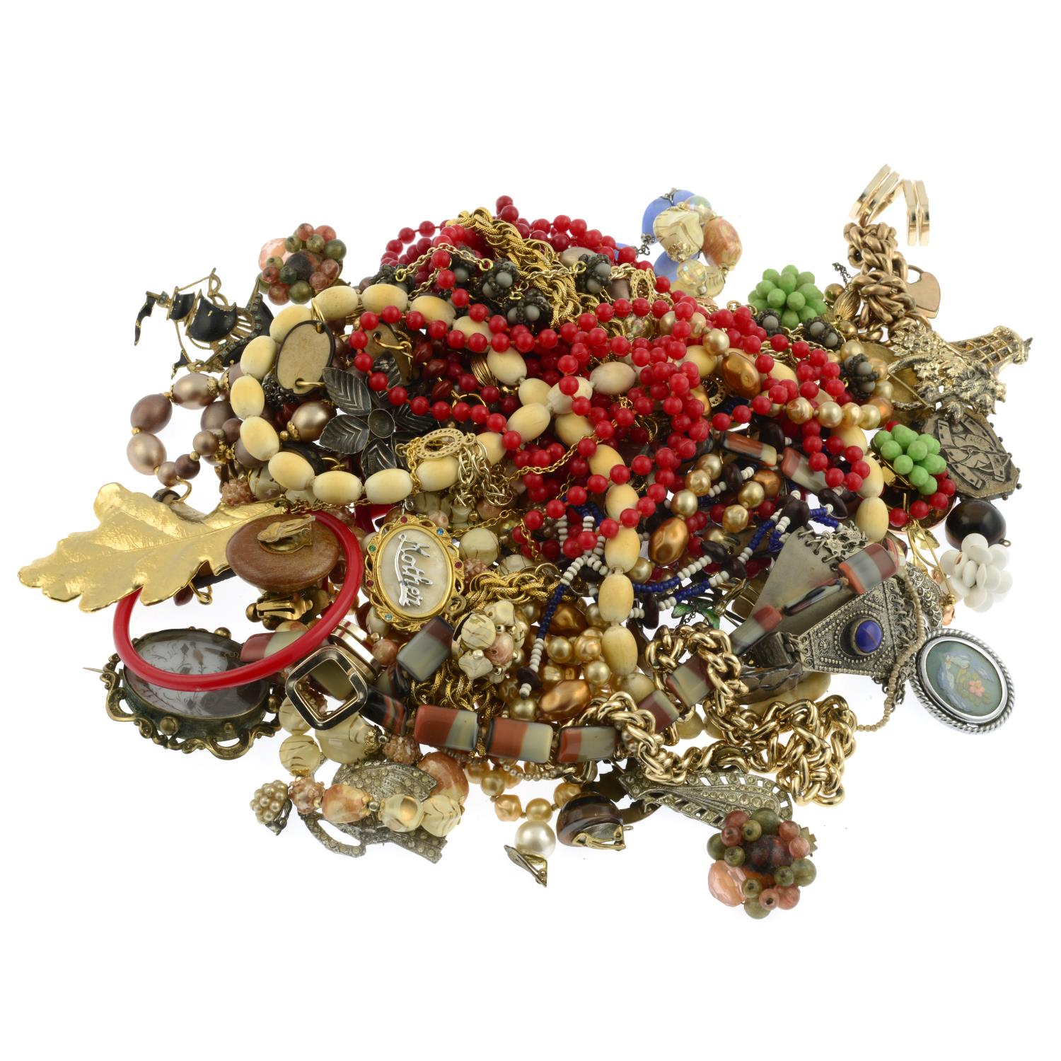 A selection of costume jewellery, to include two silver brooches. - Image 2 of 2
