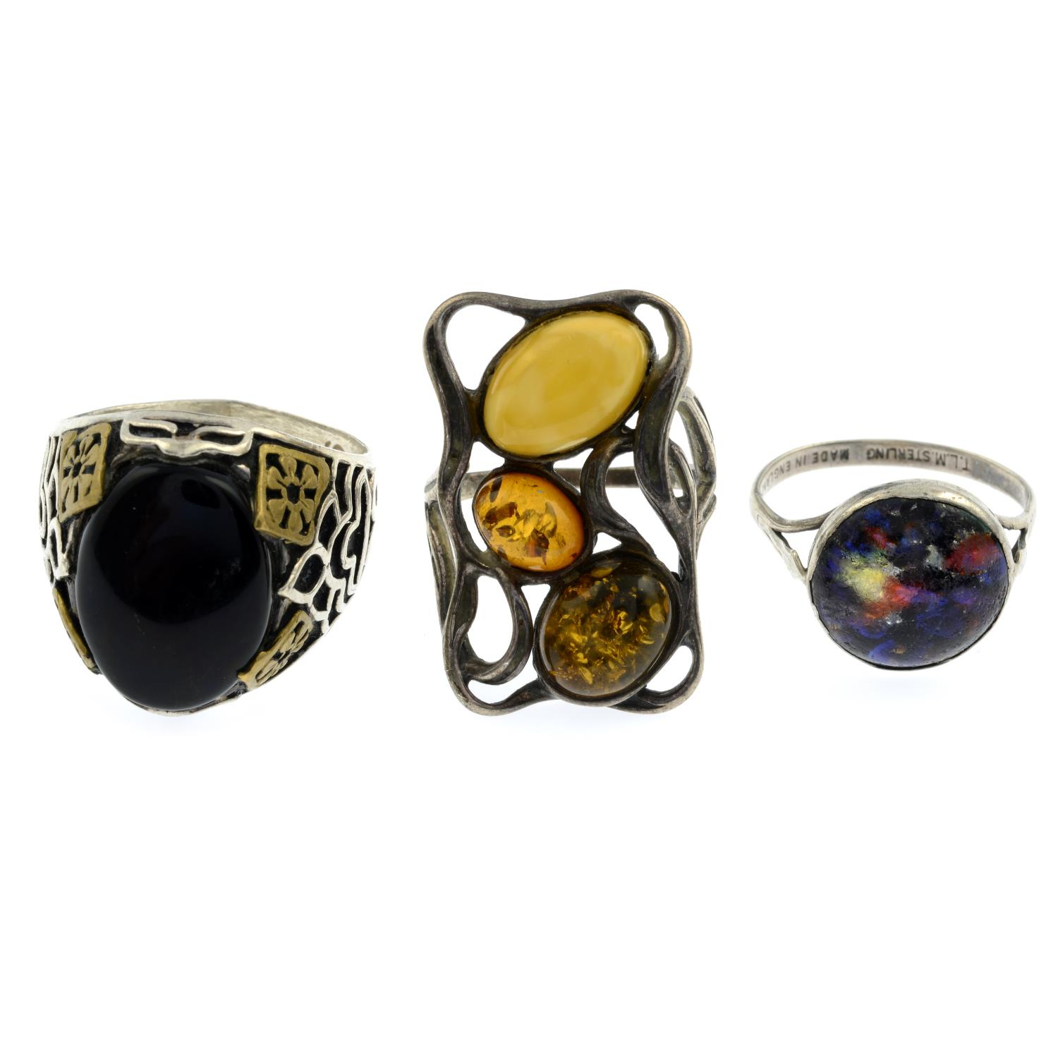 A selection of mainly gem-set rings, to include a pink mother-of-pearl and marcasite flower ring.