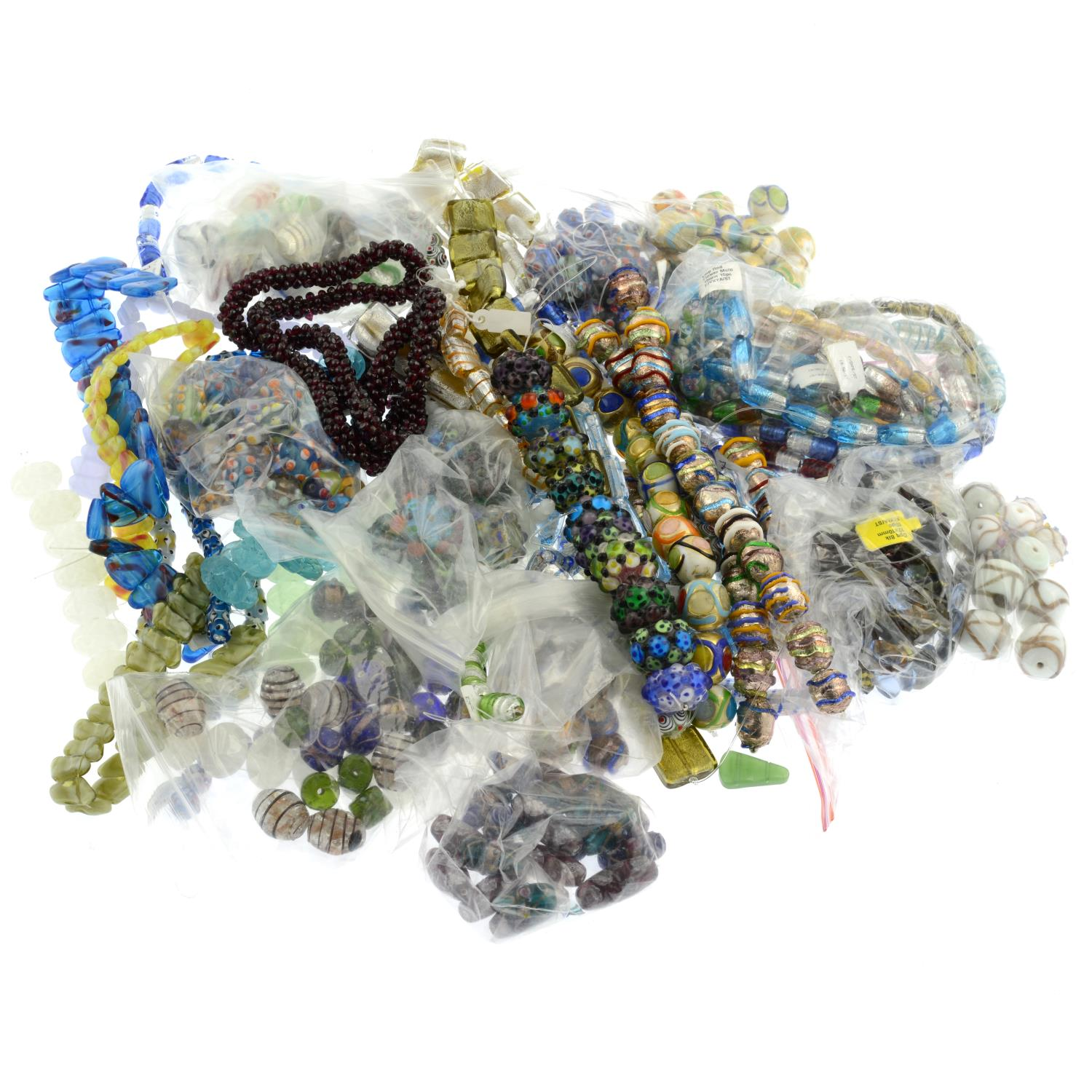 A selection of costume items, to include mainly glass and paste beaded bracelets and necklaces. - Image 2 of 2