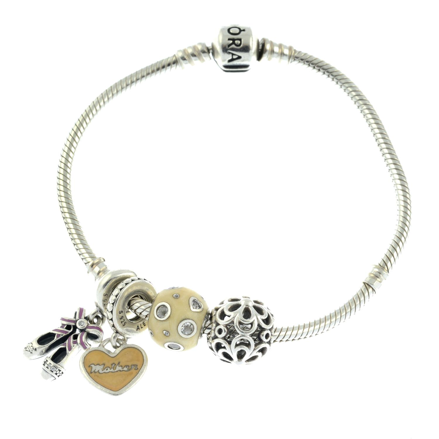 A small selection of Pandora jewellery, to include two braclets.