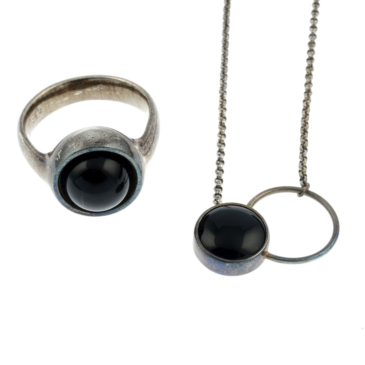 An onyx ring and necklace, by Georg Jensen.