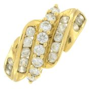 A 14ct gold cubic zirconia dress ring.Hallmarks for Birmingham, 2002.Ring size R.