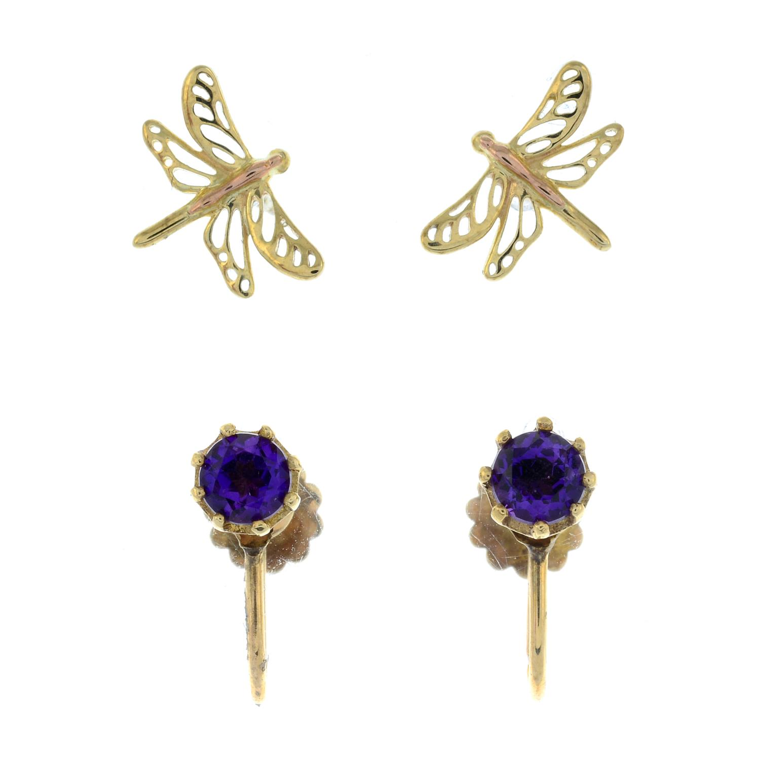 A pair of 9ct gold stud earrings of dragonflies,