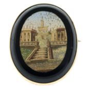 A late 19th century micro mosaic grand tour brooch.Length 3.8cms.