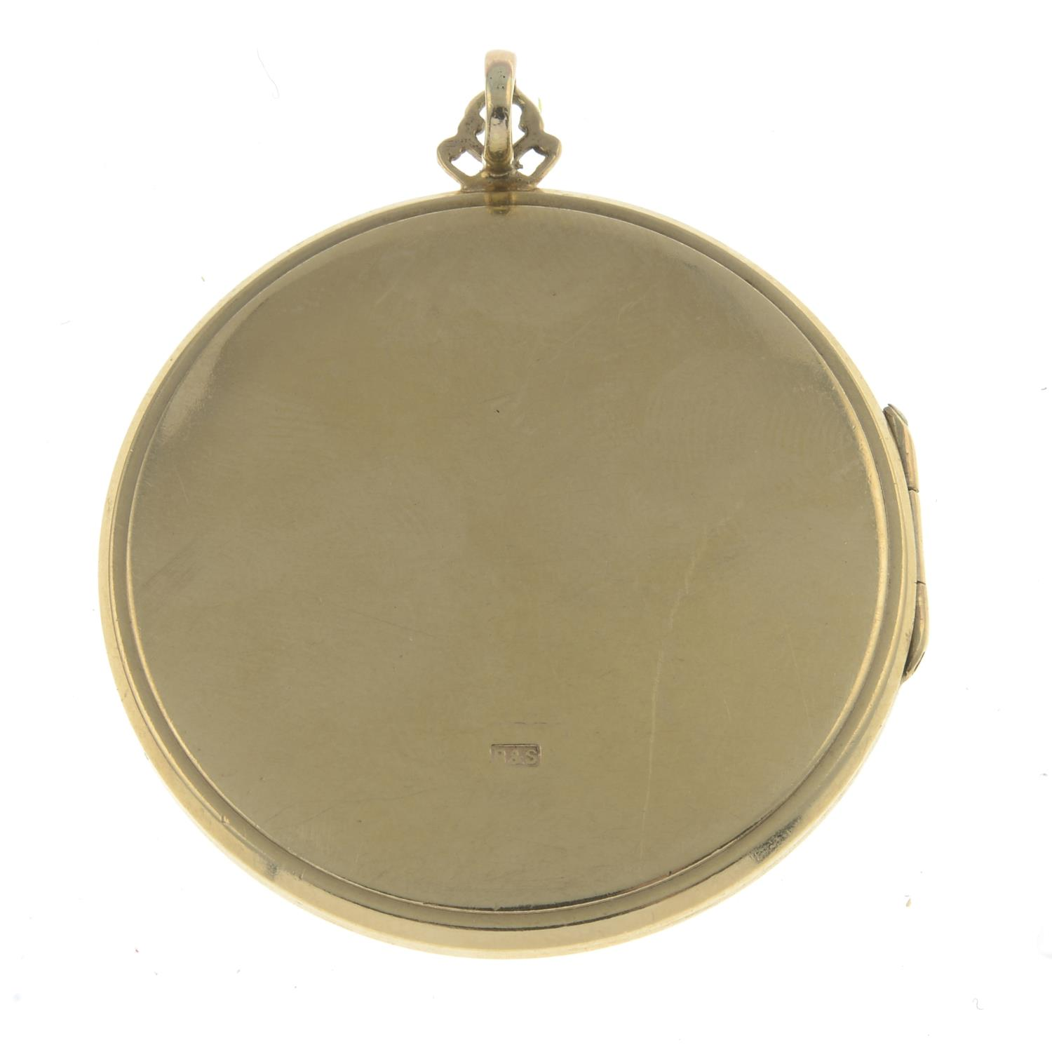 A 9ct gold locket pendant.Hallmarks for Birmingham, partially indistinct.Length 4.7cms. - Image 2 of 2