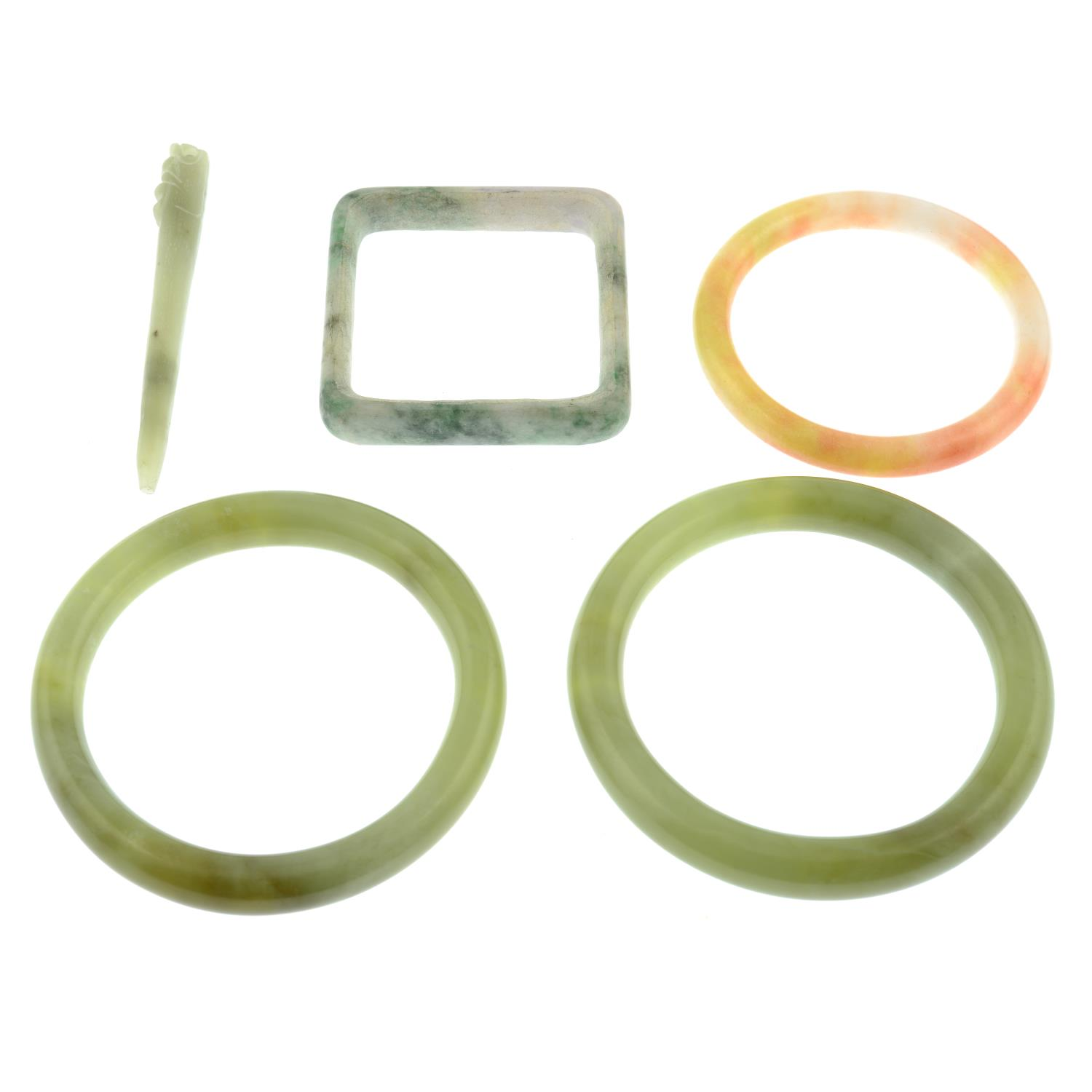 A selection of jade and serpentine jewellery, to include six bangles and a pendant. - Image 2 of 2