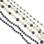 Five cultured pearl necklaces and three gem-set bracelets.Many with marks to indicate