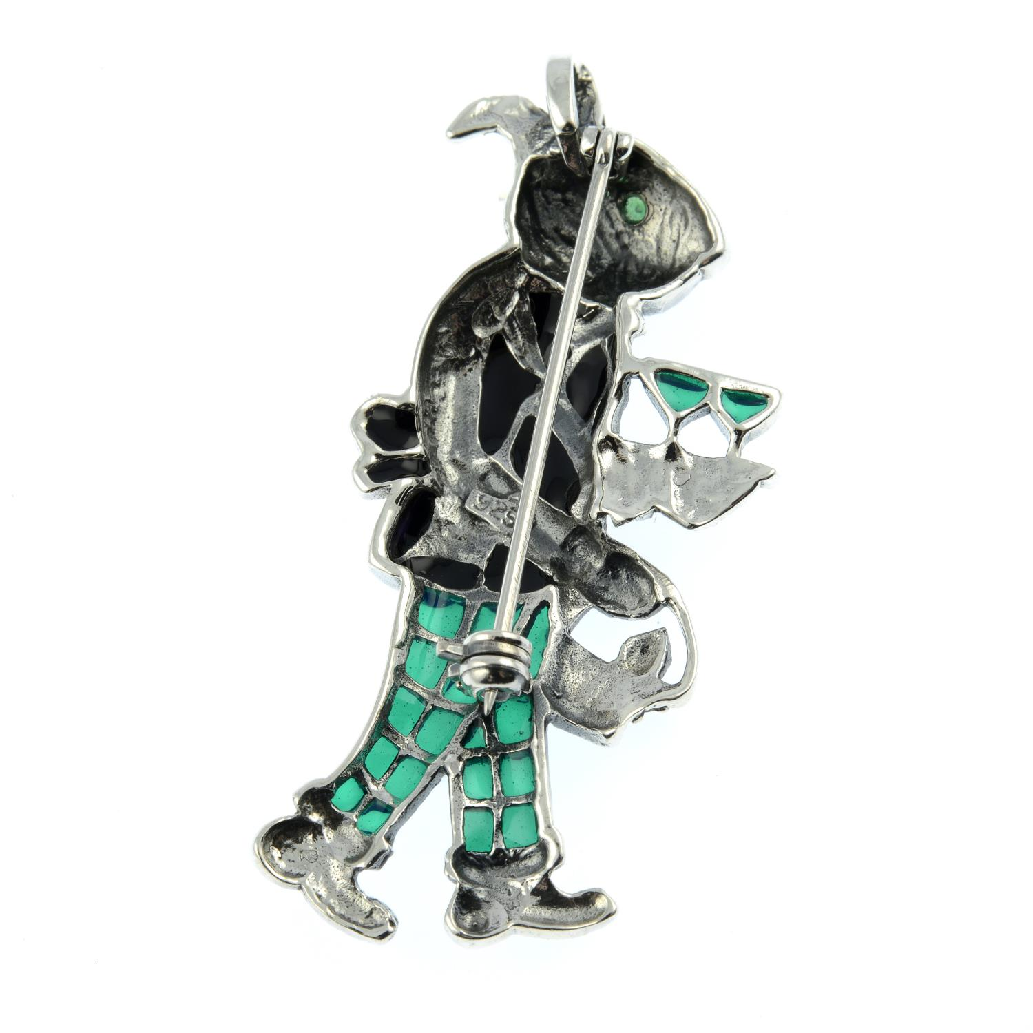 A marcasite plique-a-jour brooch of a rabbit dressed as a waiter. - Image 2 of 2