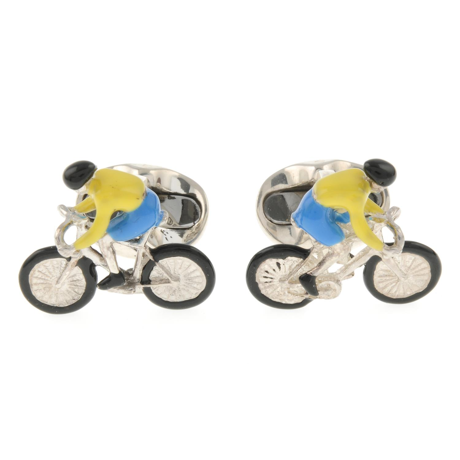 A pair of silver enamel bicycle cufflinks, by Deakin and Francis.Signed D&F.