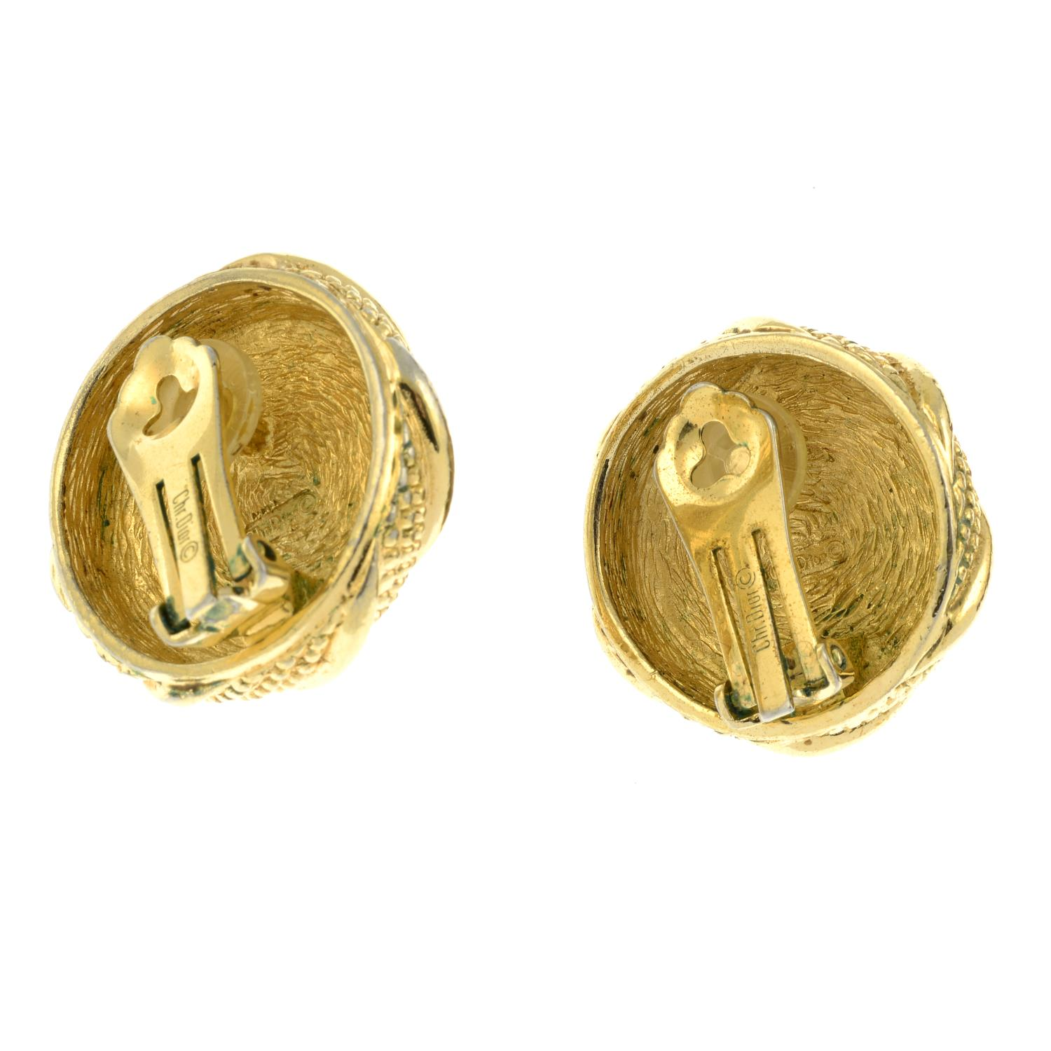 A pair of large imitation pearl clip-on earrings, by Christian Dior.Signed Chr. - Image 2 of 2
