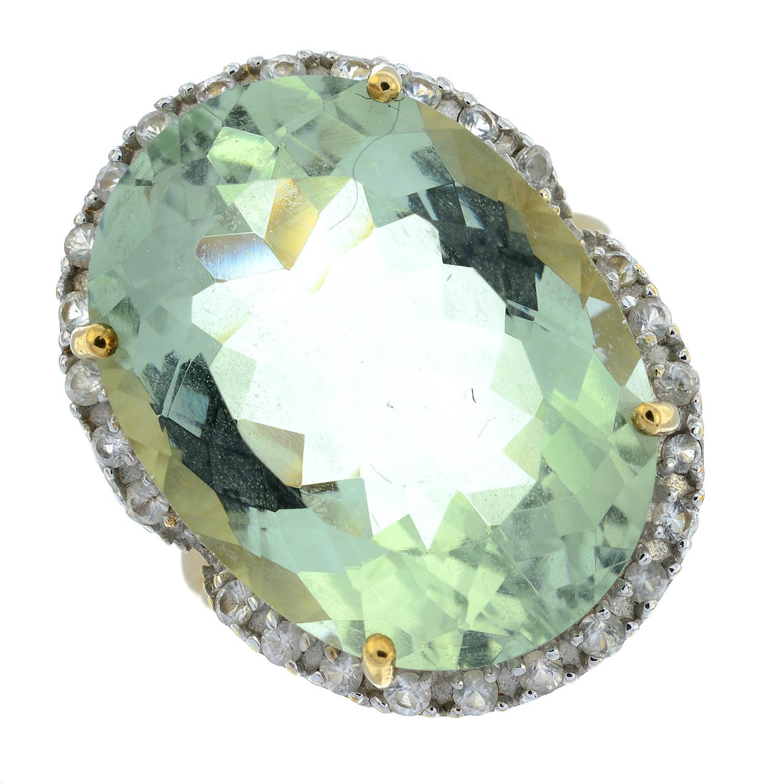 A 9ct gold prasiolite and cubic zirconia dress ring.Hallmarks for Birmingham.