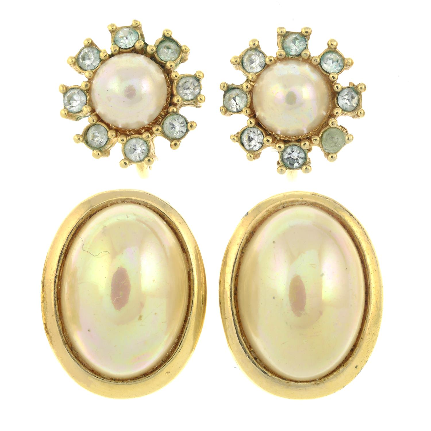 Two pairs of imitation pearl and paste clip-on earrings, by Christian Dior.Signed Chr.