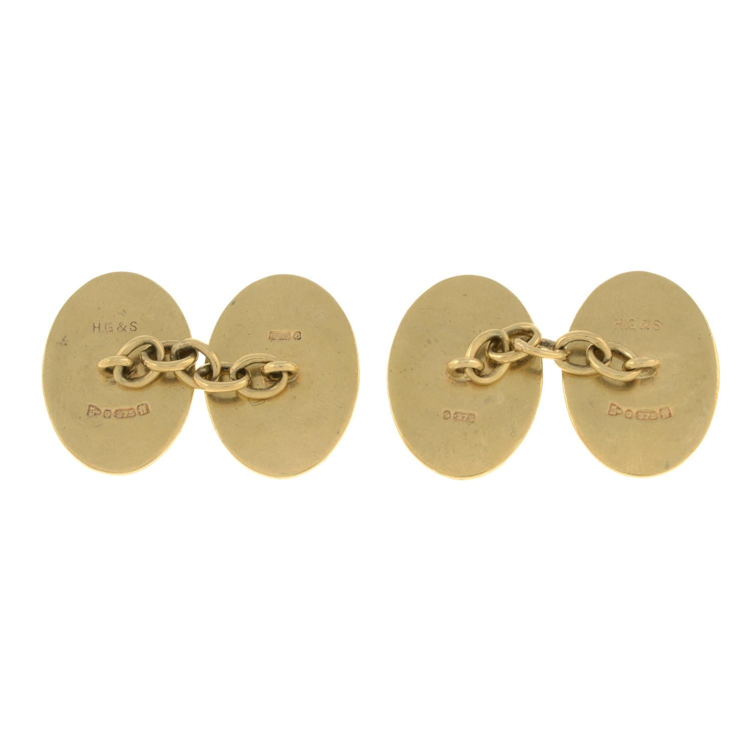 A pair of mid 19th century 9ct gold cufflinks.Hallmarks for Sheffield.Length of cufflink face - Image 2 of 2