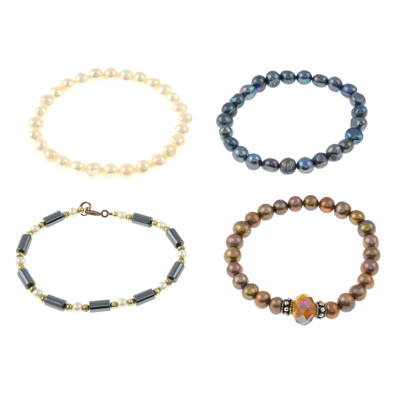 A freshwater pearl five strand necklace and fourteen cultured pearl bracelets.Length of necklace