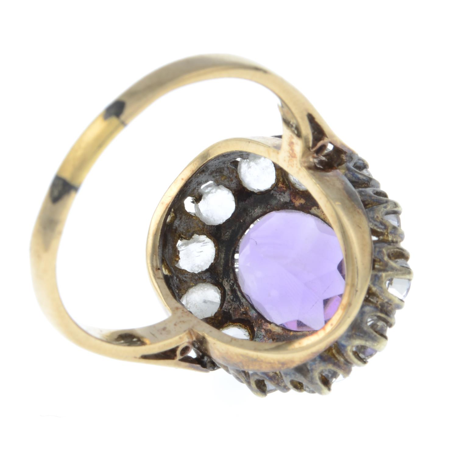 A 9ct gold amethyst and paste cluster ring.Hallmarks for Birmingham, 1973.Ring size P. - Image 3 of 3