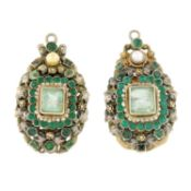 A pair of Austro-Hungarian silver gilt green beryl, paste and seed pearl earring components.