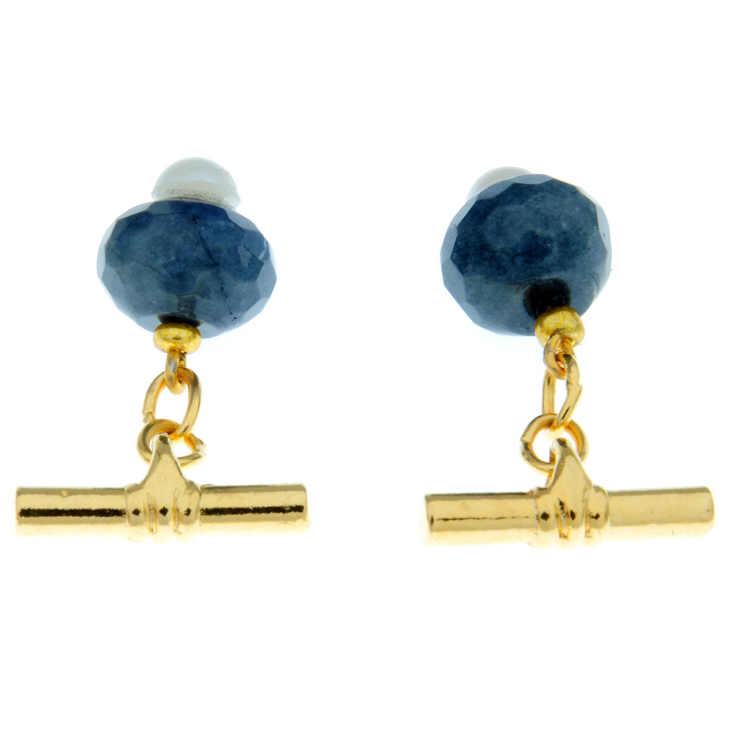 A pair of sapphire and imitation pearl cufflinks.Diameter of cufflink face 1.2cms. - Image 2 of 2