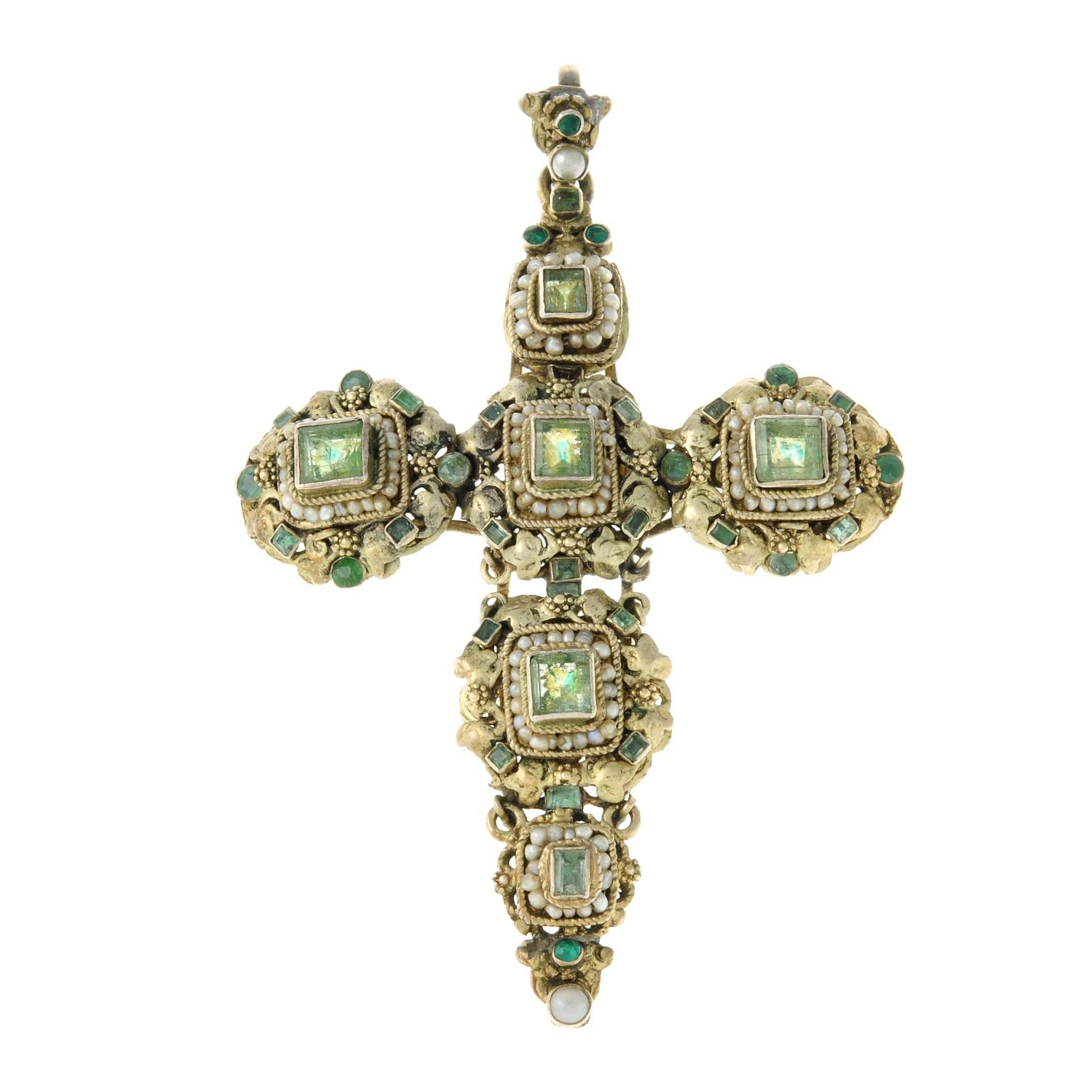 An Austro-Hungarian silver gilt green beryl, paste and seed pearl cross pendant.Length 8.4cms.