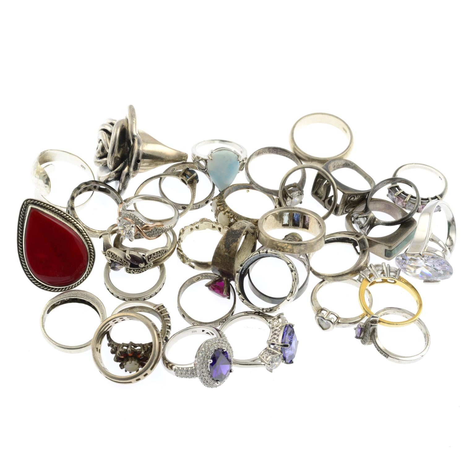 A selection of mainly gem-set rings, to include a three stone cubic zirconia ring. - Image 2 of 2