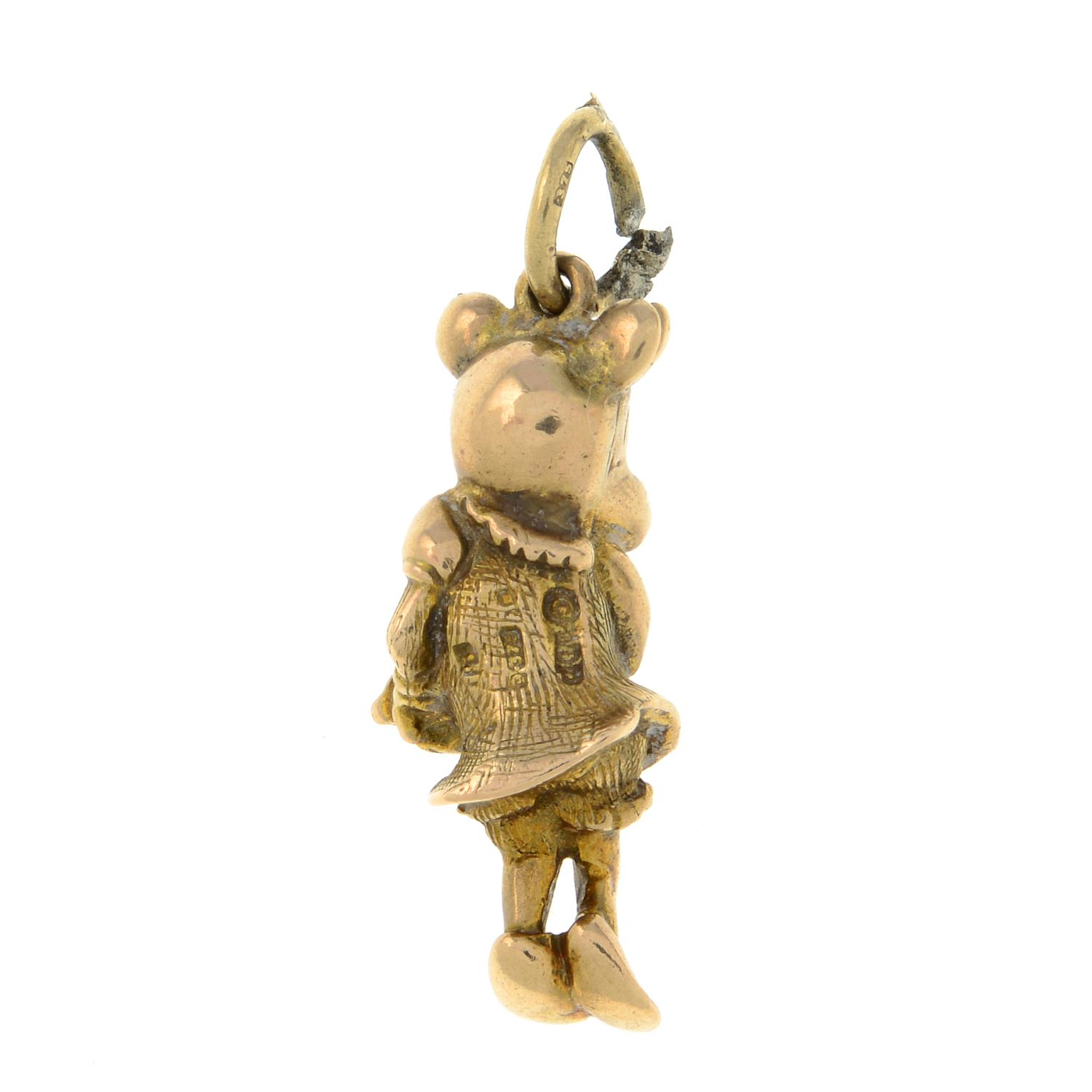 A 9ct gold 'Minnie Mouse' charm, with pink sapphire eye detail.Hallmarks for London.Length 2.9cms. - Image 2 of 2