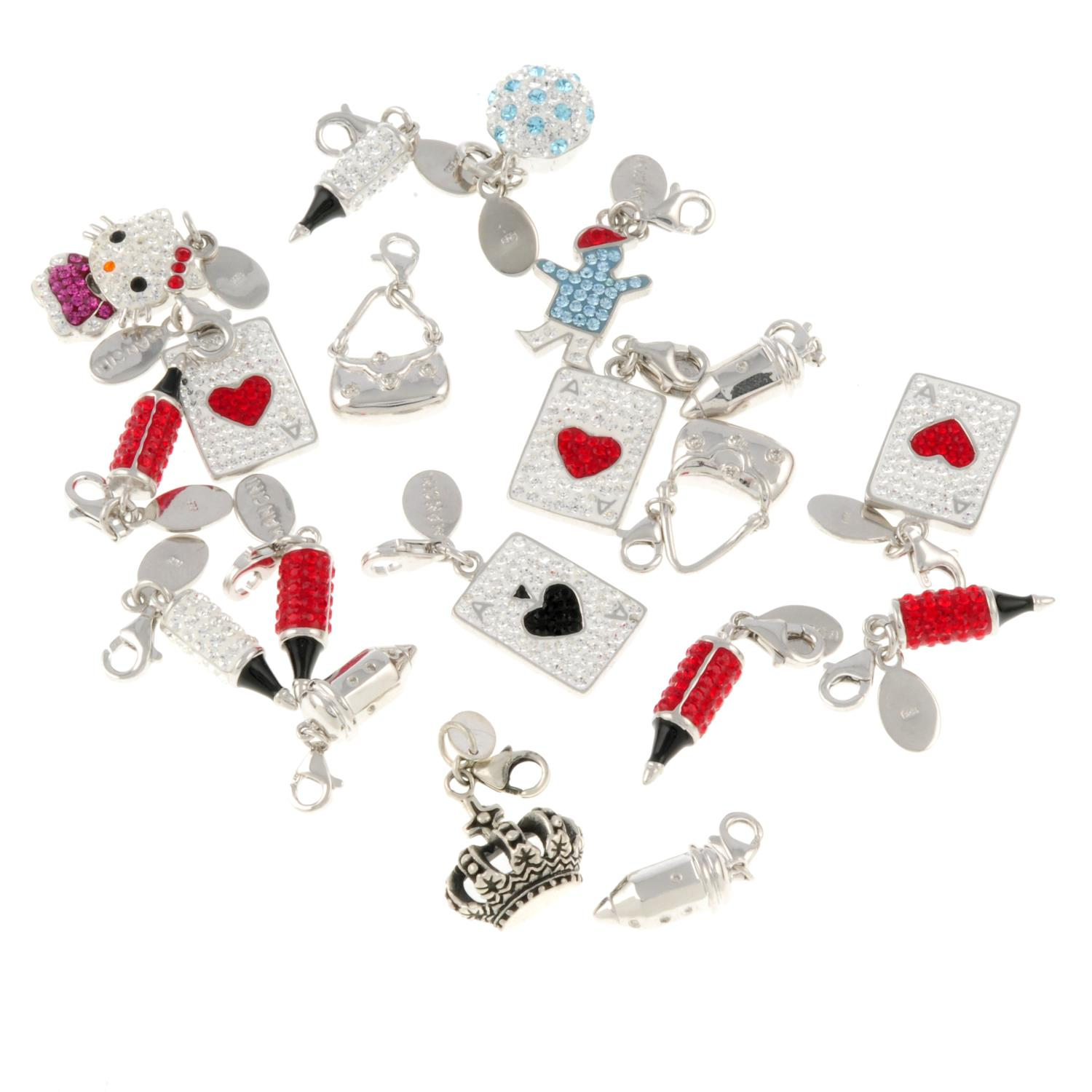 A selection of charms mainly, by Mancini.Many signed Mancini. - Image 2 of 2