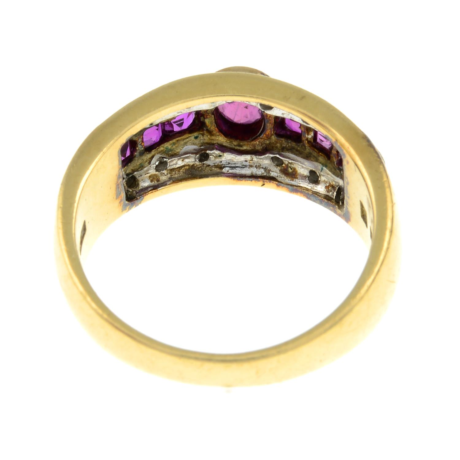 A ruby and diamond dress ring.Stamped 585.Ring size L. - Image 2 of 2