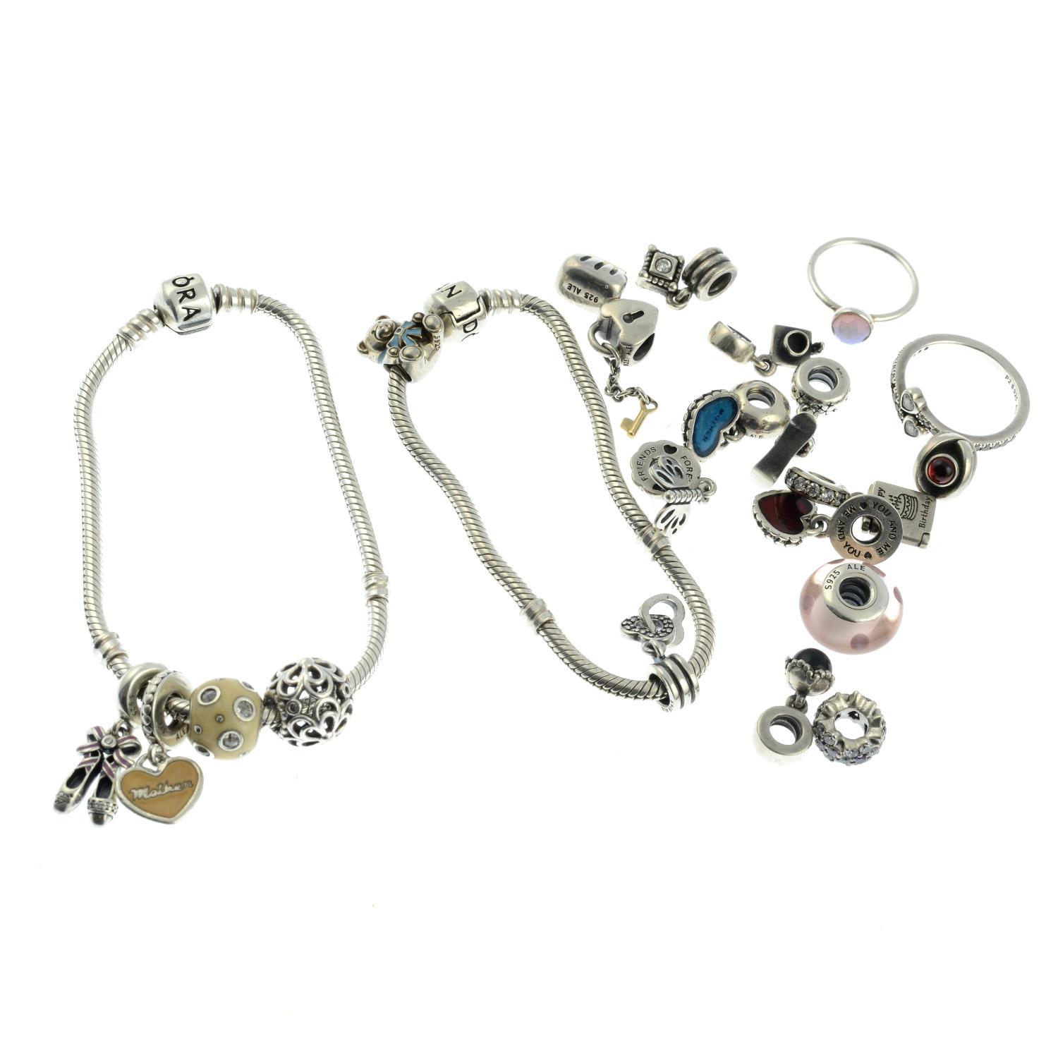 A small selection of Pandora jewellery, to include two braclets. - Image 2 of 2