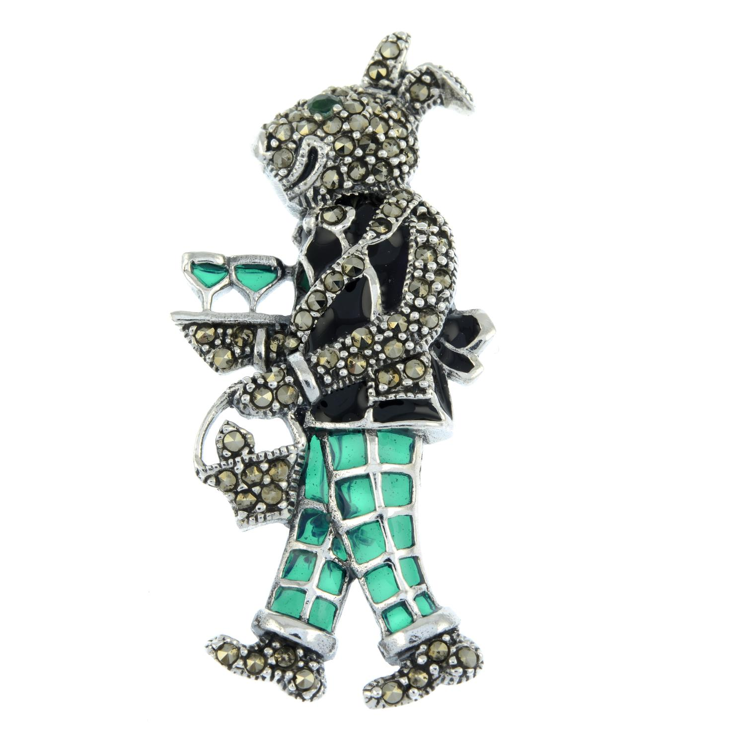 A marcasite plique-a-jour brooch of a rabbit dressed as a waiter.