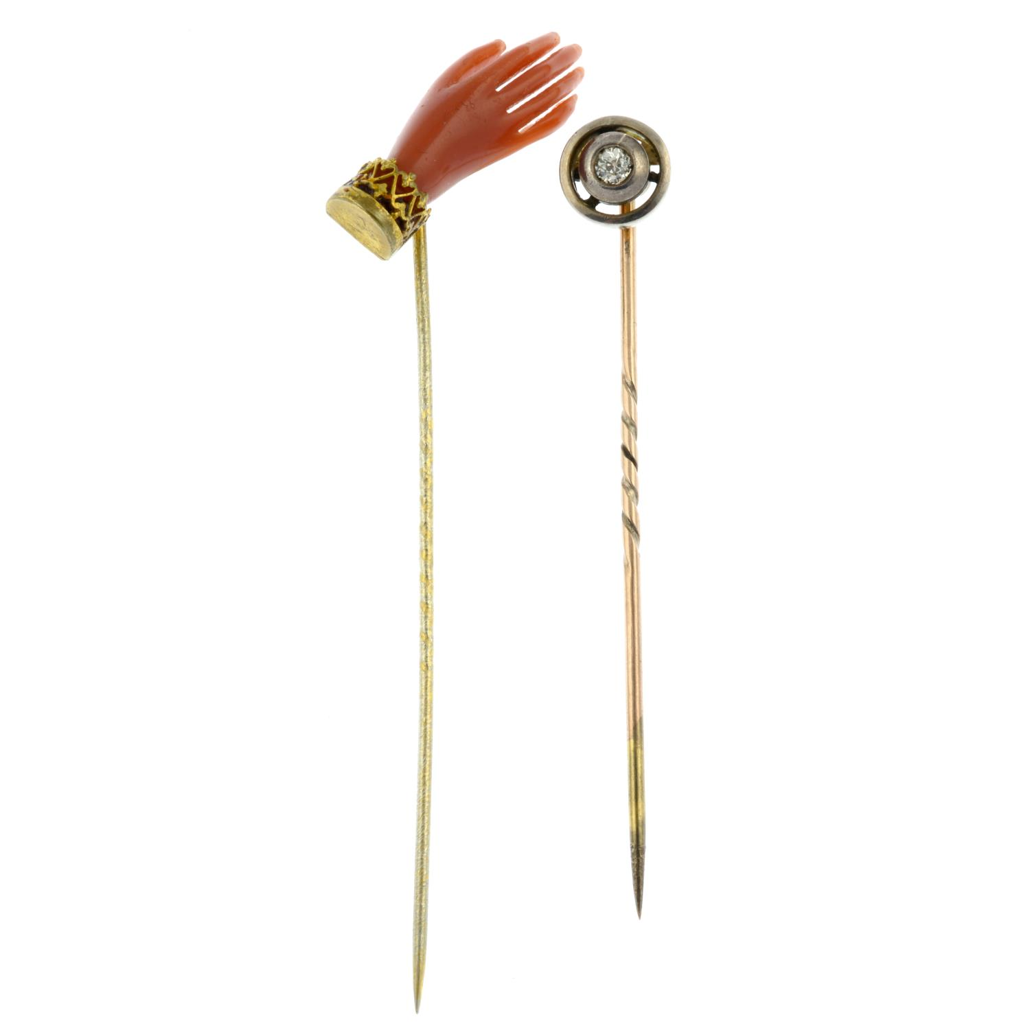 An old-cut diamond stickpin and a coral hand stickpin.Estimate diamond weight 0.1cts, - Image 2 of 3
