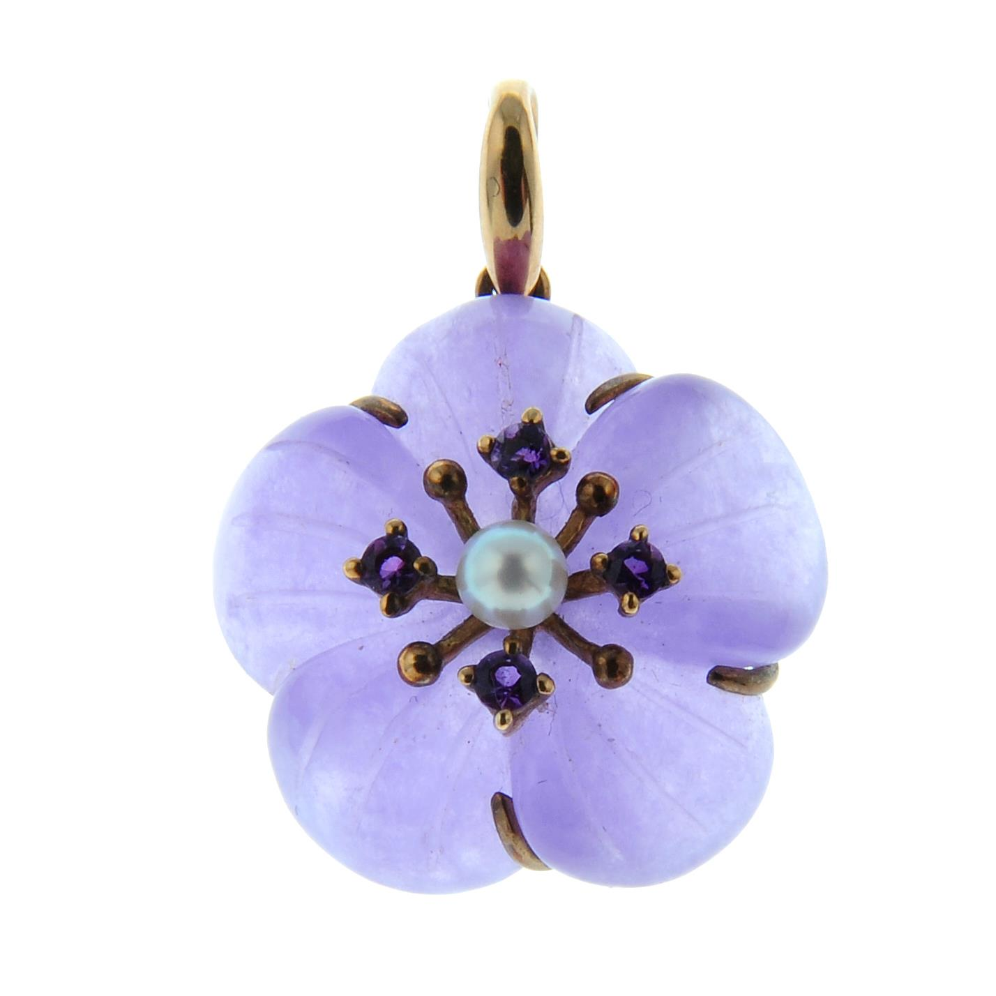 A purple jade, cultured pearl and amethyst pendant of a flower.