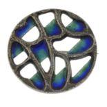A silver enamel brooch, by David Lawrence.