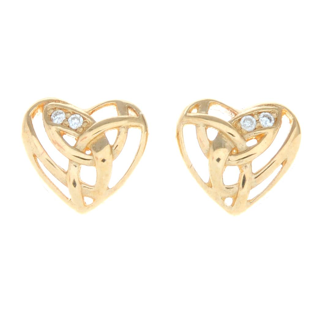 A pair of 9ct gold diamond stud heart earrings, by Clogau.Signed Clogau.
