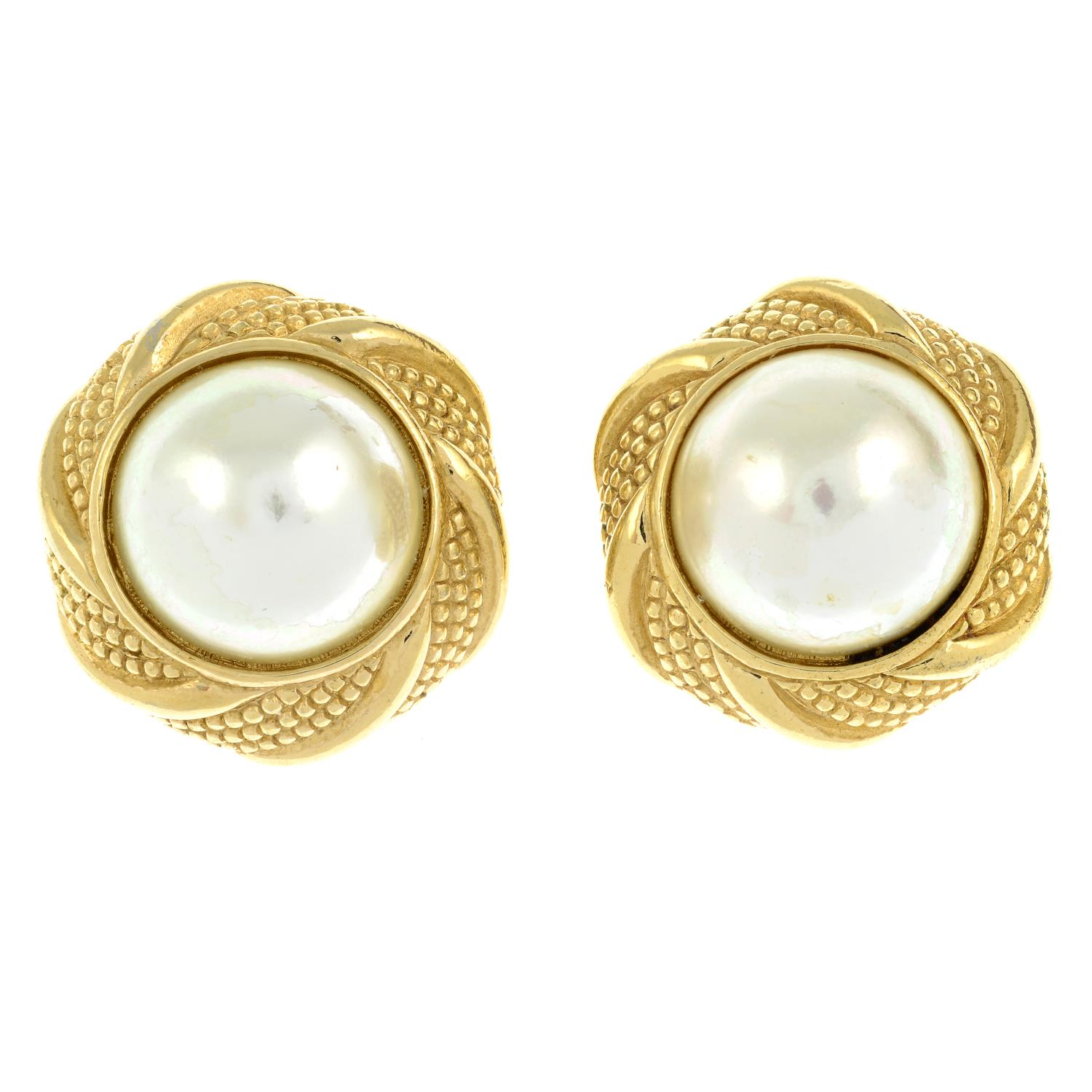 A pair of large imitation pearl clip-on earrings, by Christian Dior.Signed Chr.