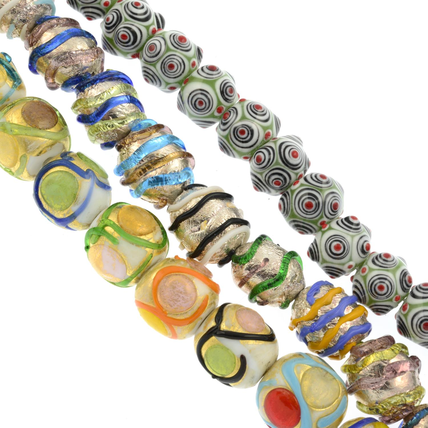A selection of costume items, to include mainly glass and paste beaded bracelets and necklaces.