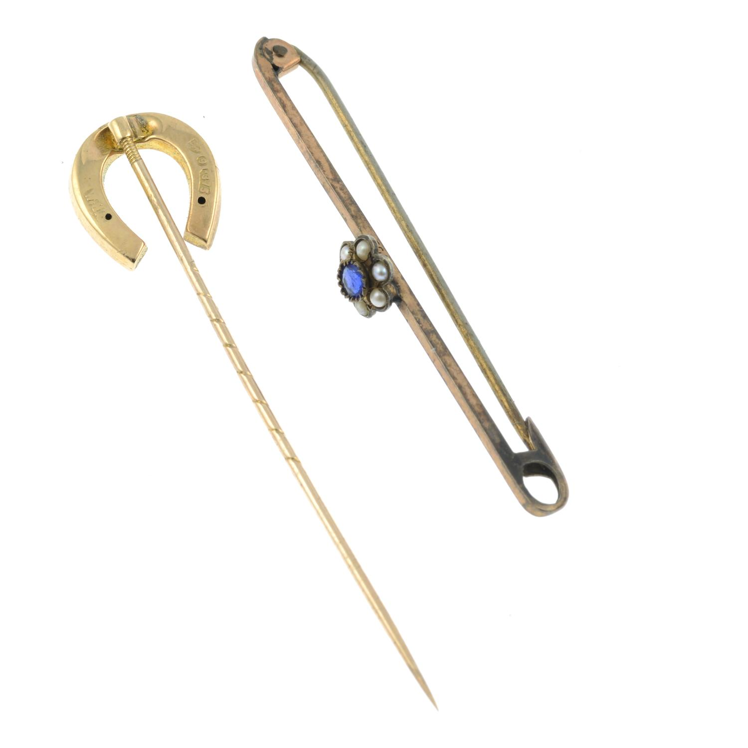 A 9ct gold paste horseshoe stickpin along with a paste a seed pearl bar brooch. - Image 2 of 2