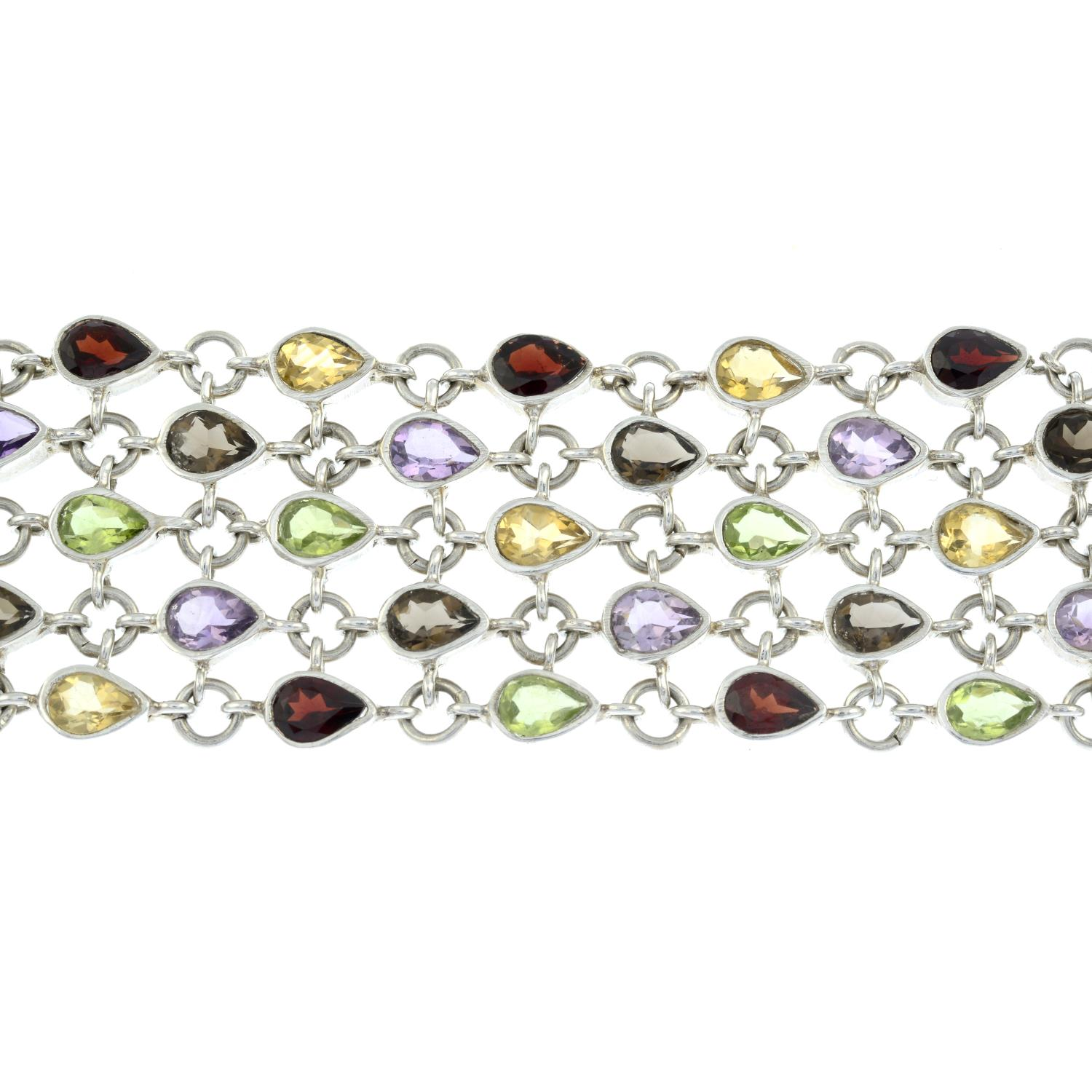 A silver multi-gem set bracelet and ring.One with Hallmarks for Birmingham.