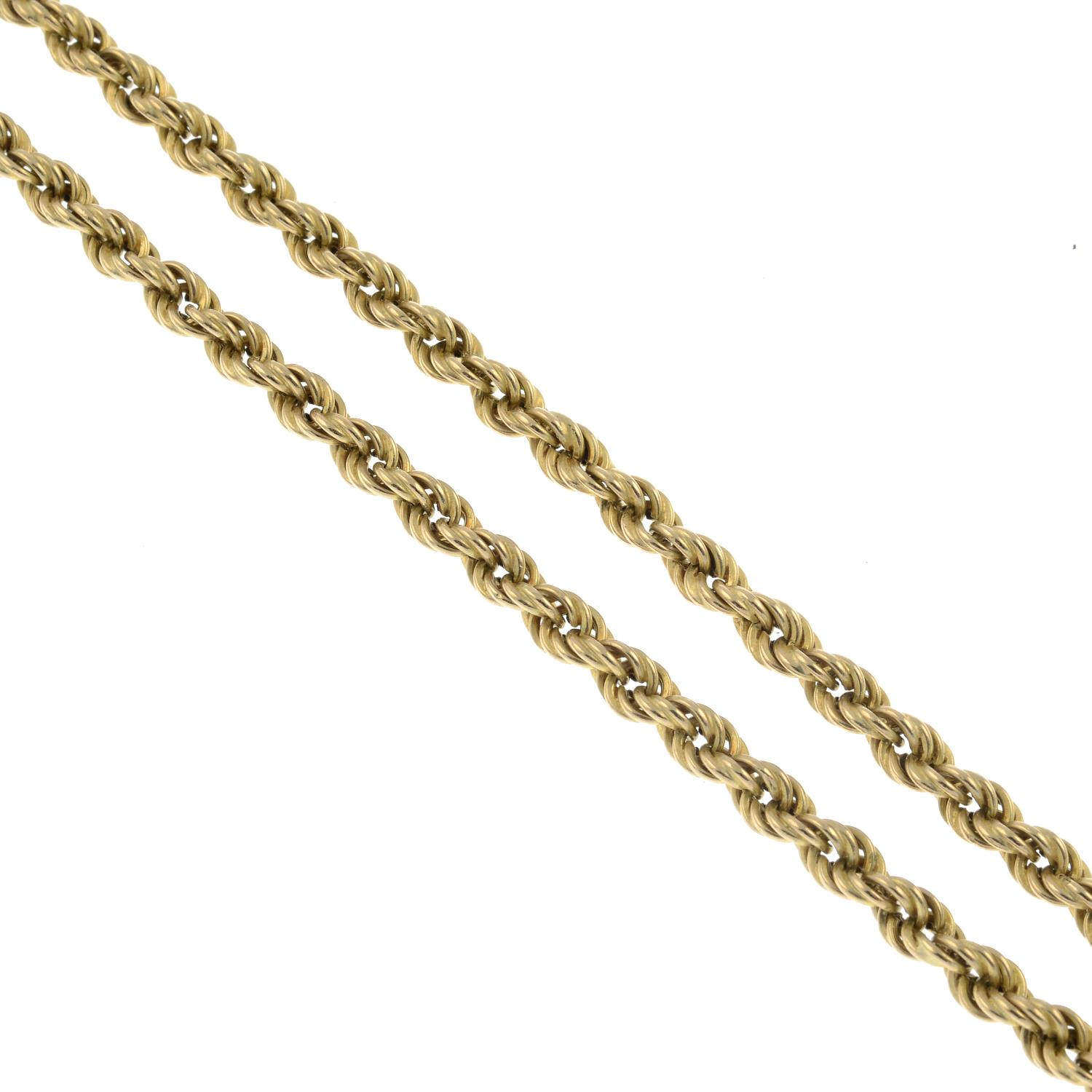 A 9ct gold rope chain necklace.Hallmarks for Sheffield.Length 47cms.