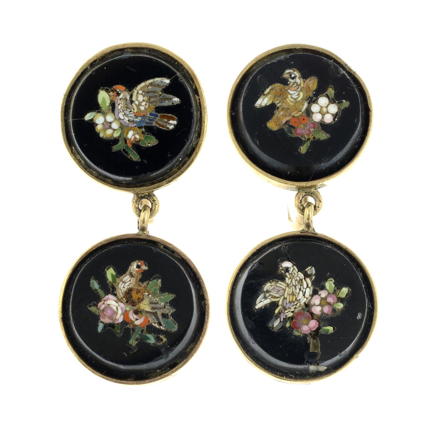 A pair of micro mosaic earrings, featuring bird and floral motifs.Stamped 10kt.Lengths 2.9cms.