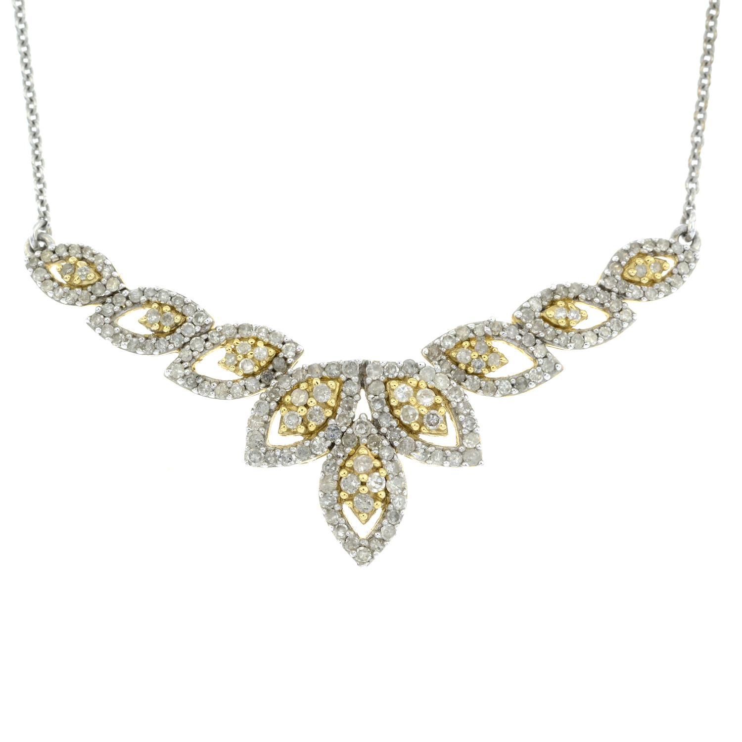 A diamond necklace.Stamped 925.Lengths 46.5cms.