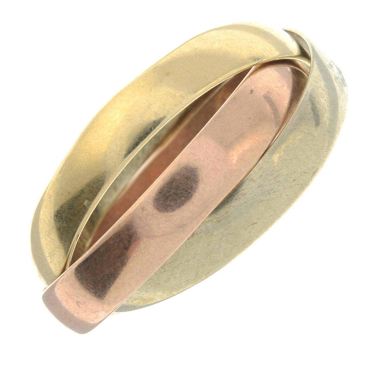 A 9ct gold tri-coloured band ring.Hallmarks for London.Ring size U.