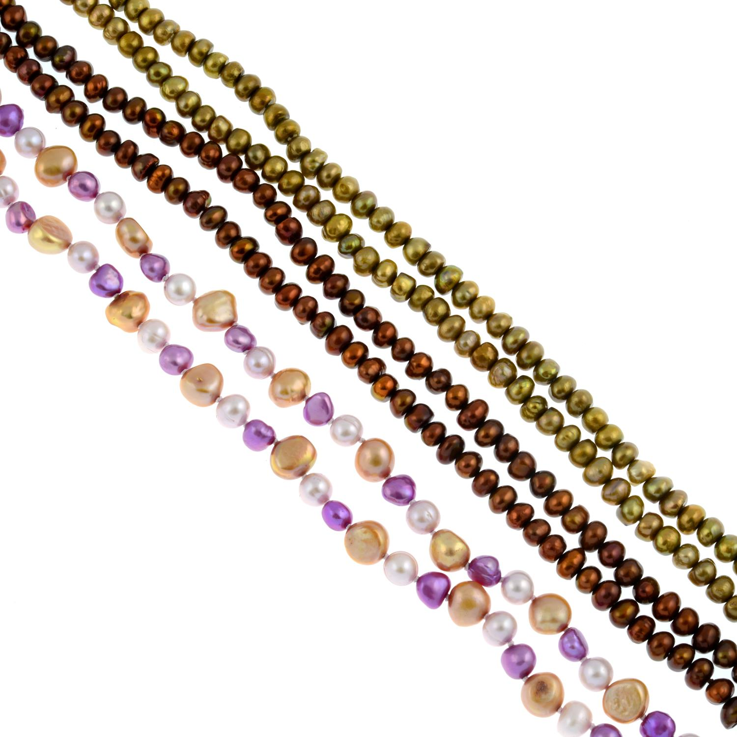 Three cultured pearl necklaces and two bracelets.
