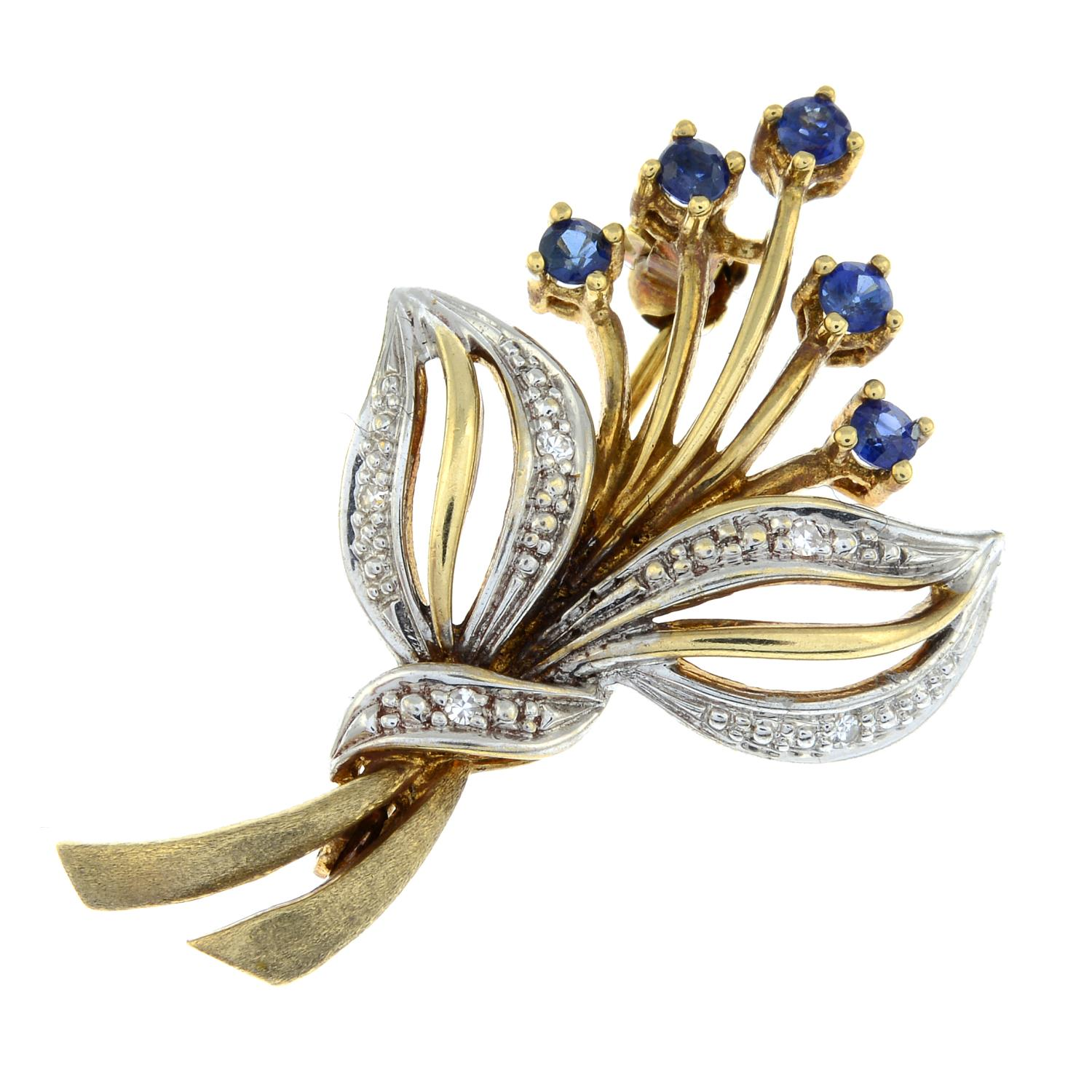 A 9ct gold diamond and sapphire brooch.Total diamond weight 0.03cts stamped to brooch.Hallmarks for