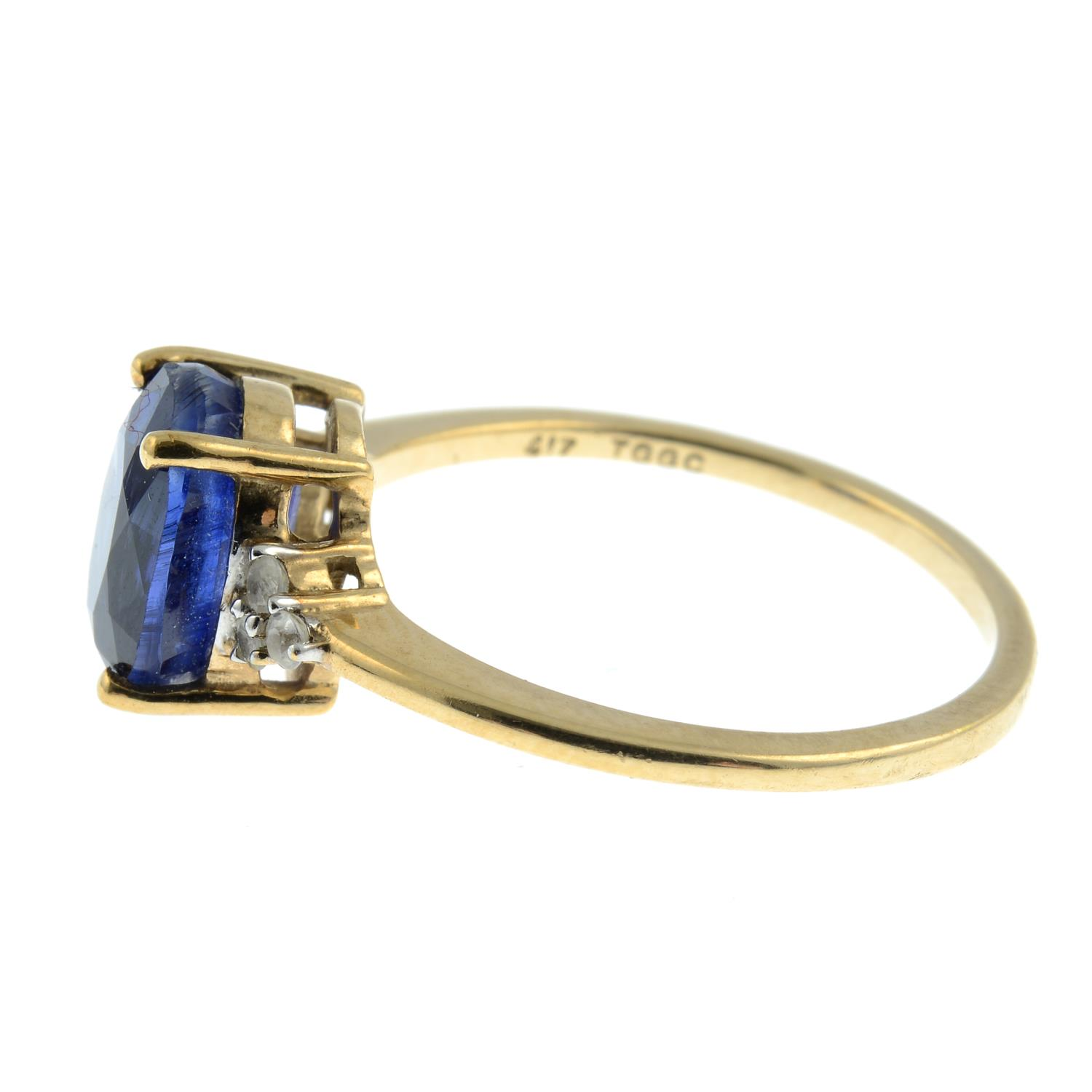 A 9ct gold kyanite and white sapphire ring.Hallmarks for Birmingham. - Image 2 of 3