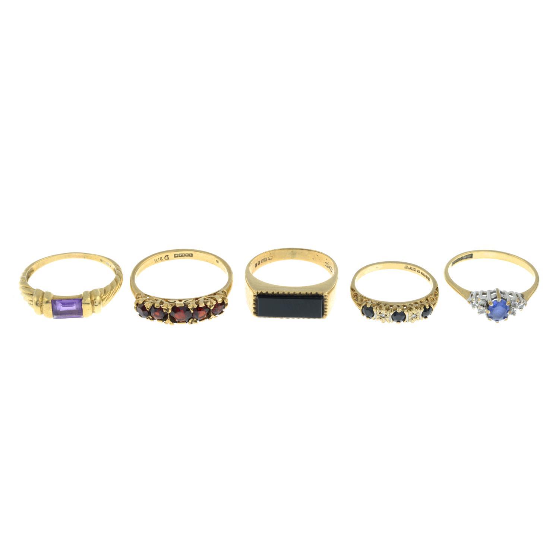 Five 9ct gold gem-set rings,