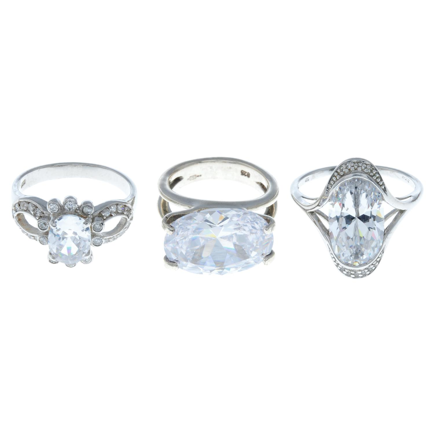 A selection of nine cubic zirconia rings and ten pairs of stud earrings.Many with marks to indicate