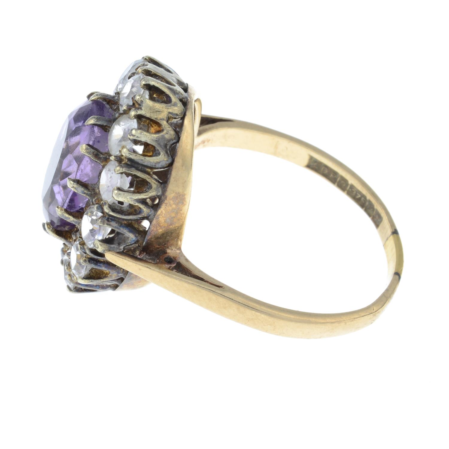 A 9ct gold amethyst and paste cluster ring.Hallmarks for Birmingham, 1973.Ring size P. - Image 2 of 3