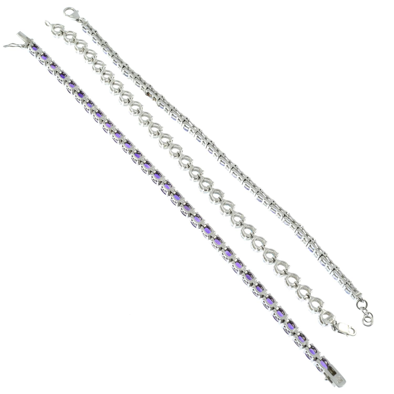 Three silver gem-set silver line bracelets, - Image 3 of 3