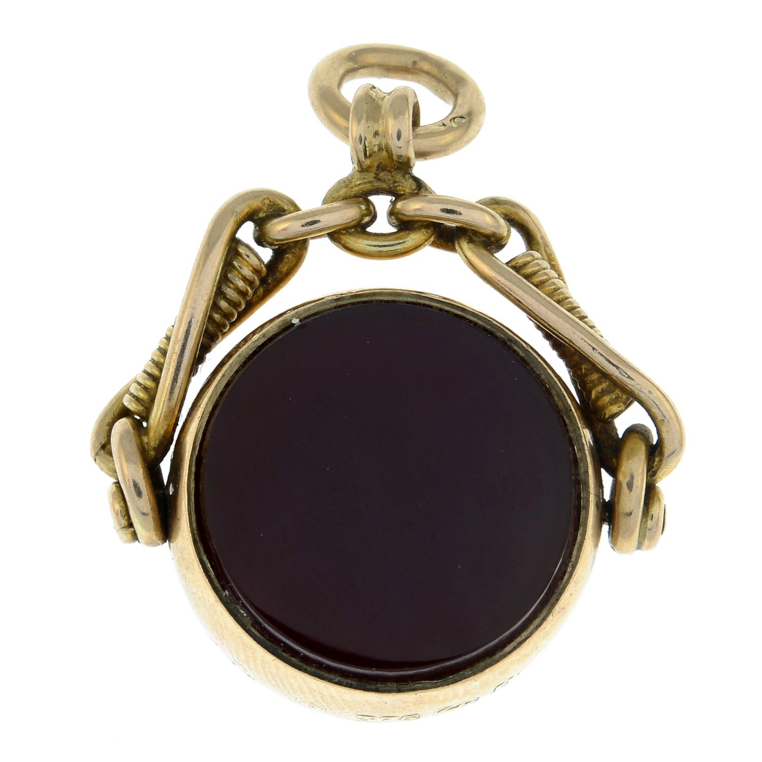 A late Victorian 9ct gold carnelian and bloodstone swivel fob.Hallmarks for Birmingham,