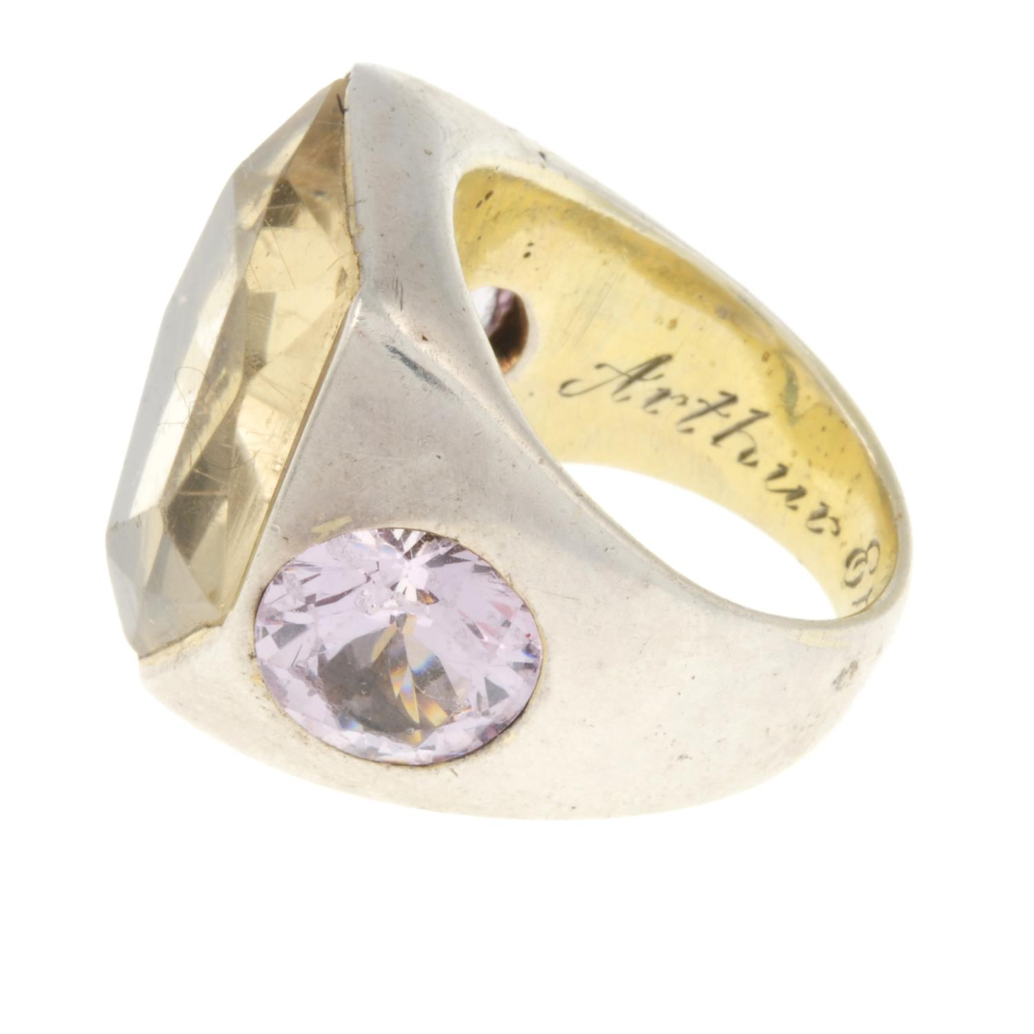 A rutilated quartz and pink cubic zirconia dress ring.Ring size T. - Image 2 of 3